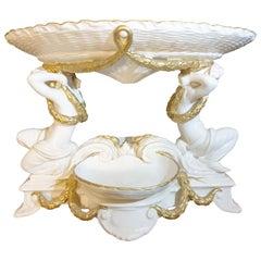 English Crème Large Minton Cherubs Gilt Roped & Ribbed Centre Piece 19th Century