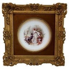 Minton Framed Cabinet Plate, Italianate Gilt, Lady in Forest, A.Boullemier, 1882