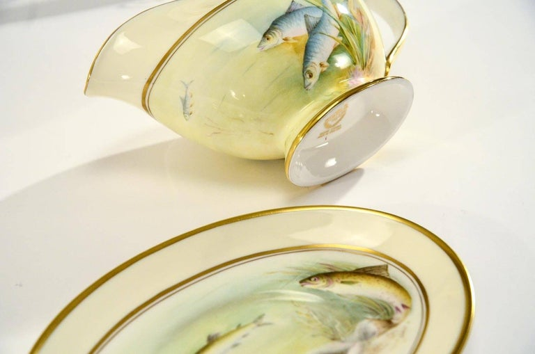 Minton Hand Painted Artist Signed Fish Service with Platter, 12 Plates and Gravy For Sale 4