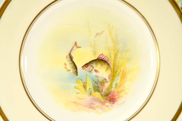 Minton Hand Painted Artist Signed Fish Service with Platter, 12 Plates and Gravy For Sale 7