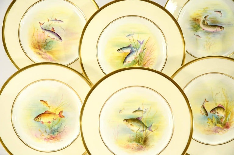 English Minton Hand Painted Artist Signed Fish Service with Platter, 12 Plates and Gravy For Sale