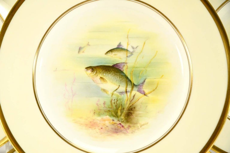 Gilt Minton Hand Painted Artist Signed Fish Service with Platter, 12 Plates and Gravy For Sale