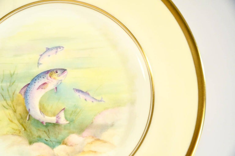 20th Century Minton Hand Painted Artist Signed Fish Service with Platter, 12 Plates and Gravy For Sale