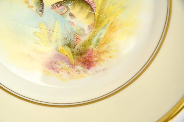 Porcelain Minton Hand Painted Artist Signed Fish Service with Platter, 12 Plates and Gravy For Sale