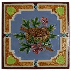 Minton Hollins & Co. Majolica Bird Tile