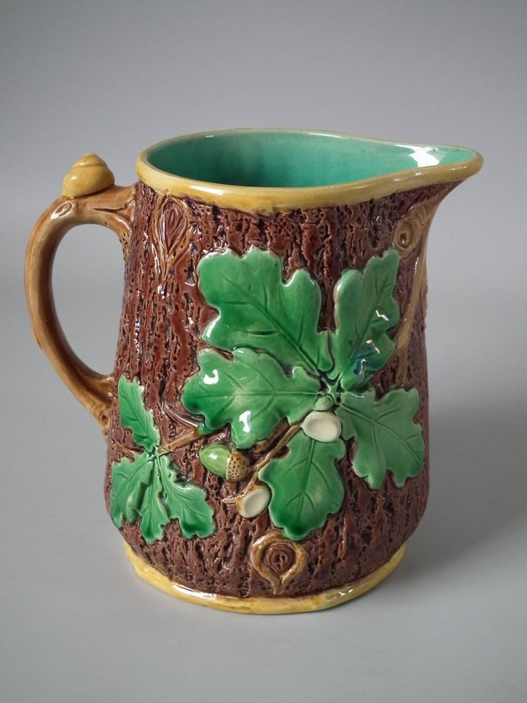 Minton Majolica Acorn and Snail Jug/Pitcher In Good Condition For Sale In Battlesbridge, Essex
