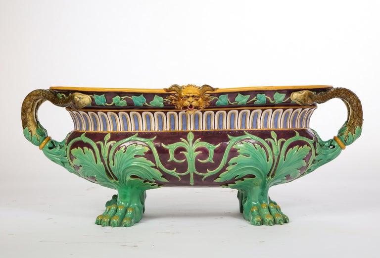 Renaissance Revival Minton Majolica Aubergine-Ground 'Marochetti' Cistern, Mid-19th Century For Sale