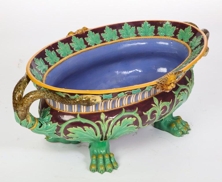 Italian Minton Majolica Aubergine-Ground 'Marochetti' Cistern, Mid-19th Century For Sale