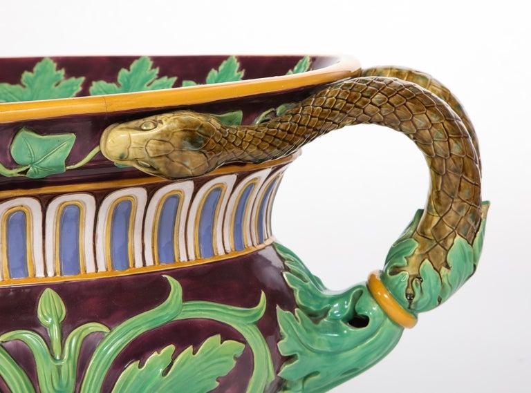 Minton Majolica Aubergine-Ground 'Marochetti' Cistern, Mid-19th Century For Sale 3
