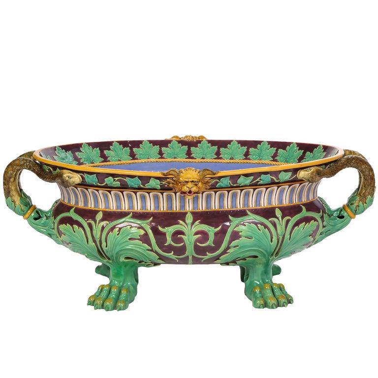 Minton Majolica Aubergine-Ground 'Marochetti' Cistern, Mid-19th Century For Sale