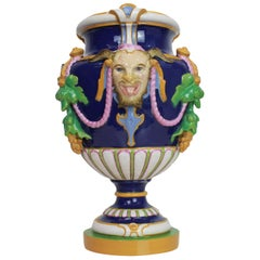 Minton Majolica 'Bacchus' Vase Cobalt Blue-Ground, English, Dated 1856