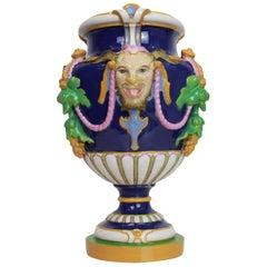 Minton Majolica 'Bacchus' Vase Cobalt Blue-Ground, English, Dated 1856