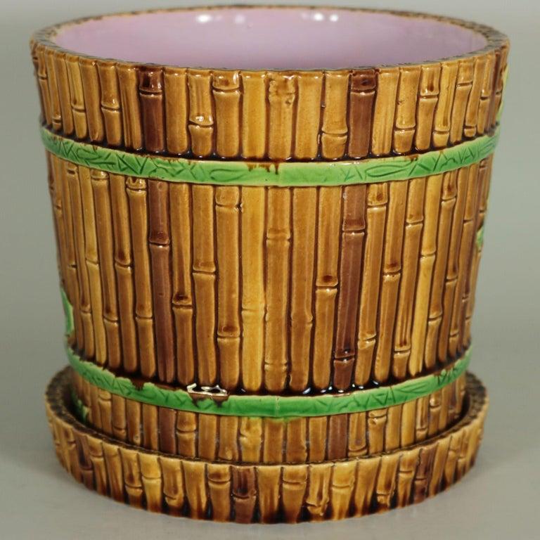 Victorian Minton Majolica Bamboo Planter & Stand For Sale