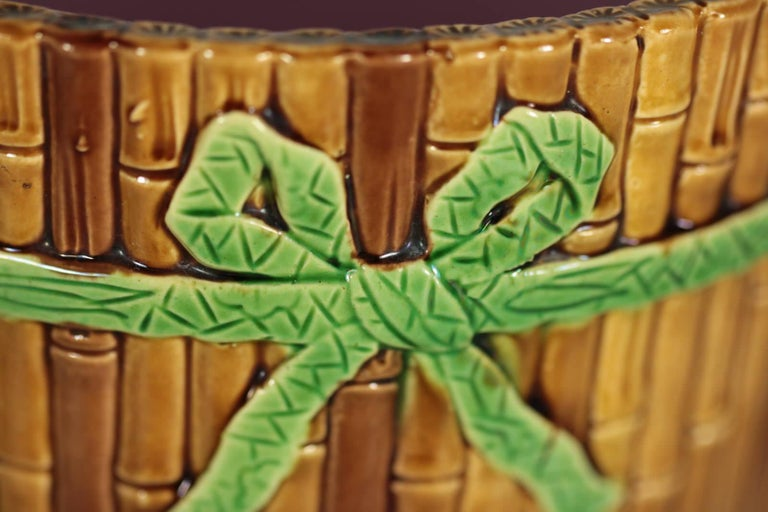 19th Century Minton Majolica Bamboo Planter & Stand For Sale