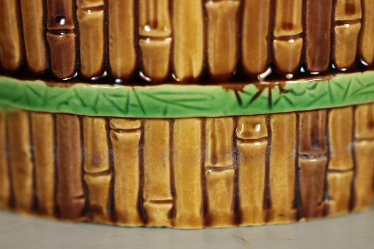 Earthenware Minton Majolica Bamboo Planter & Stand For Sale