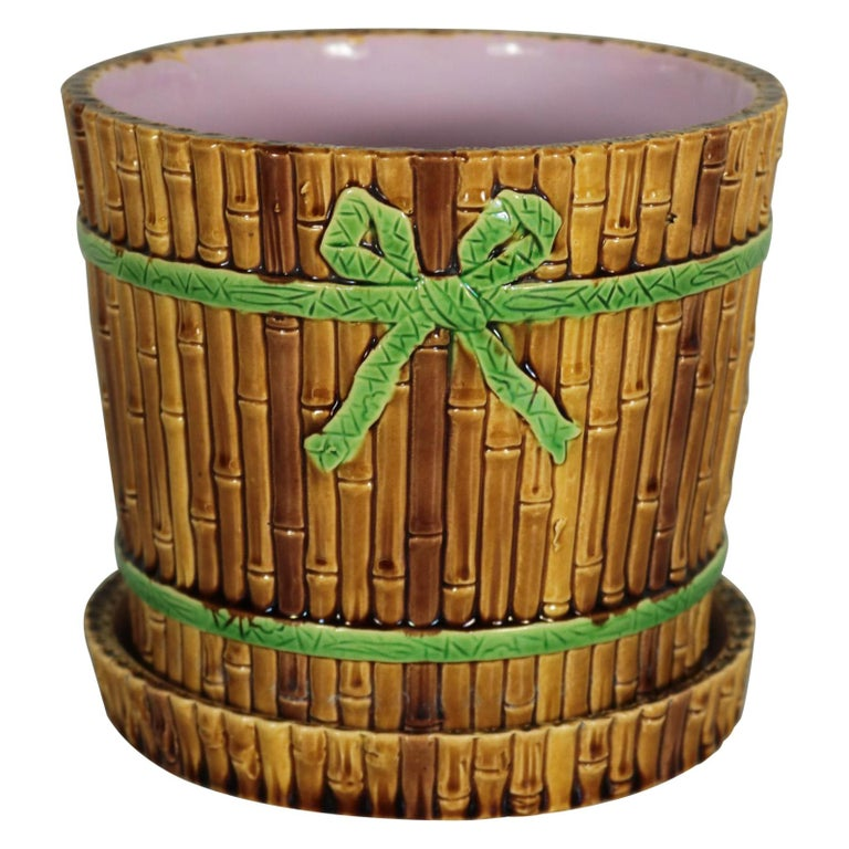 Minton Majolica Bamboo Planter & Stand For Sale
