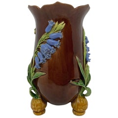 Minton Majolica Bluebells Vase in Periwinkle Blue, English, Dated 1853