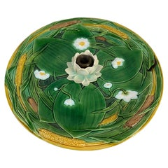 Minton Majolica Centerpiece Tray 15-in, Lotus Flower on Green Ground, Dated 1863