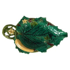Minton Majolica Cucumber and Leaf Tray