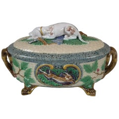 Minton Majolica Game Pie Dish with Gun Dog