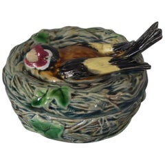 Minton Majolica Goldfinch Pot and Cover
