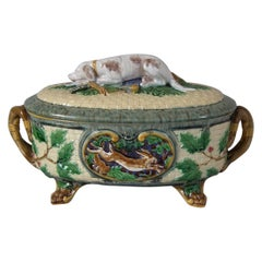 Minton Majolica Gun Dog Game Pie Dish With Liner