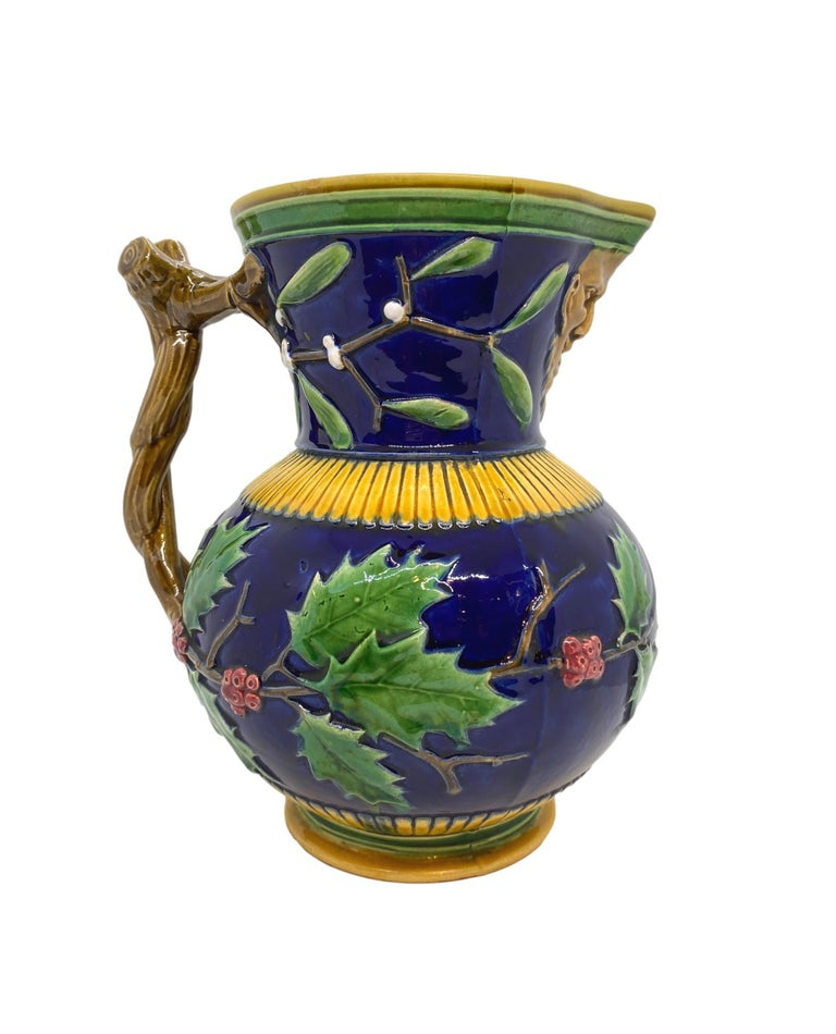 Victorian Minton Majolica Large Christmas Wine Ewer with Bacchus Mask, Cobalt, Dated 1868 For Sale