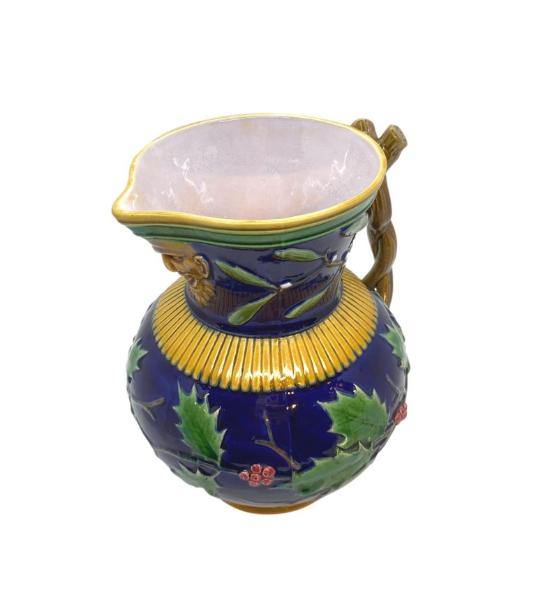 Minton Majolica Large Christmas Wine Ewer with Bacchus Mask, Cobalt, Dated 1868 In Good Condition For Sale In Banner Elk, NC