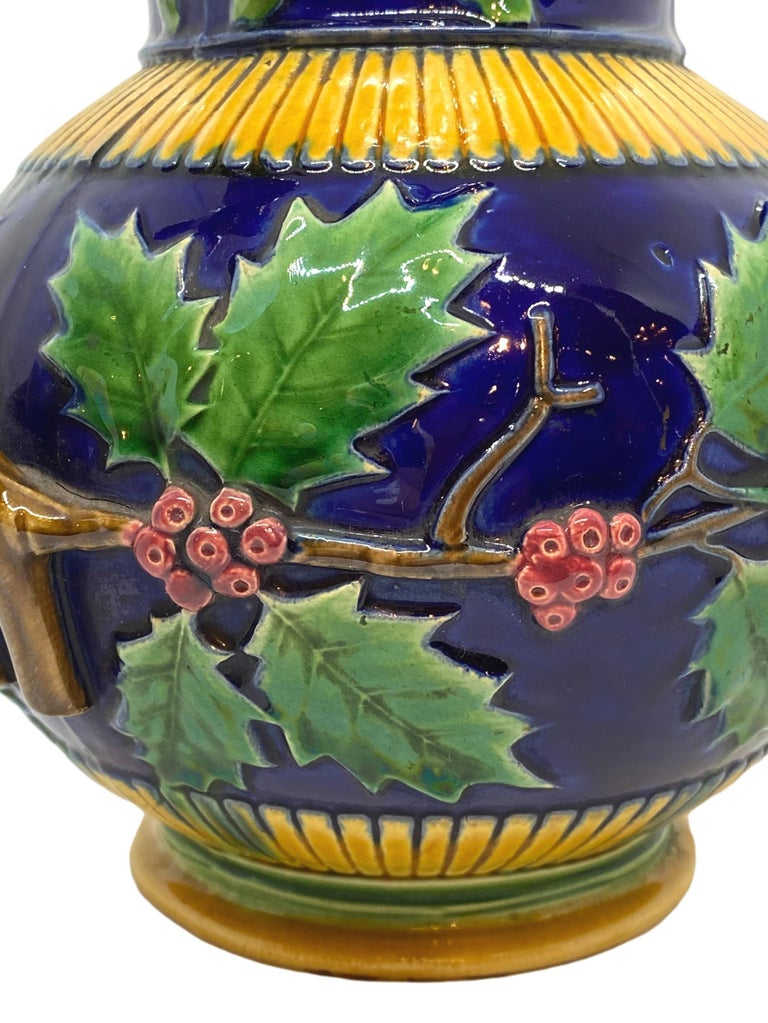 Minton Majolica Large Christmas Wine Ewer with Bacchus Mask, Cobalt, Dated 1868 For Sale 1