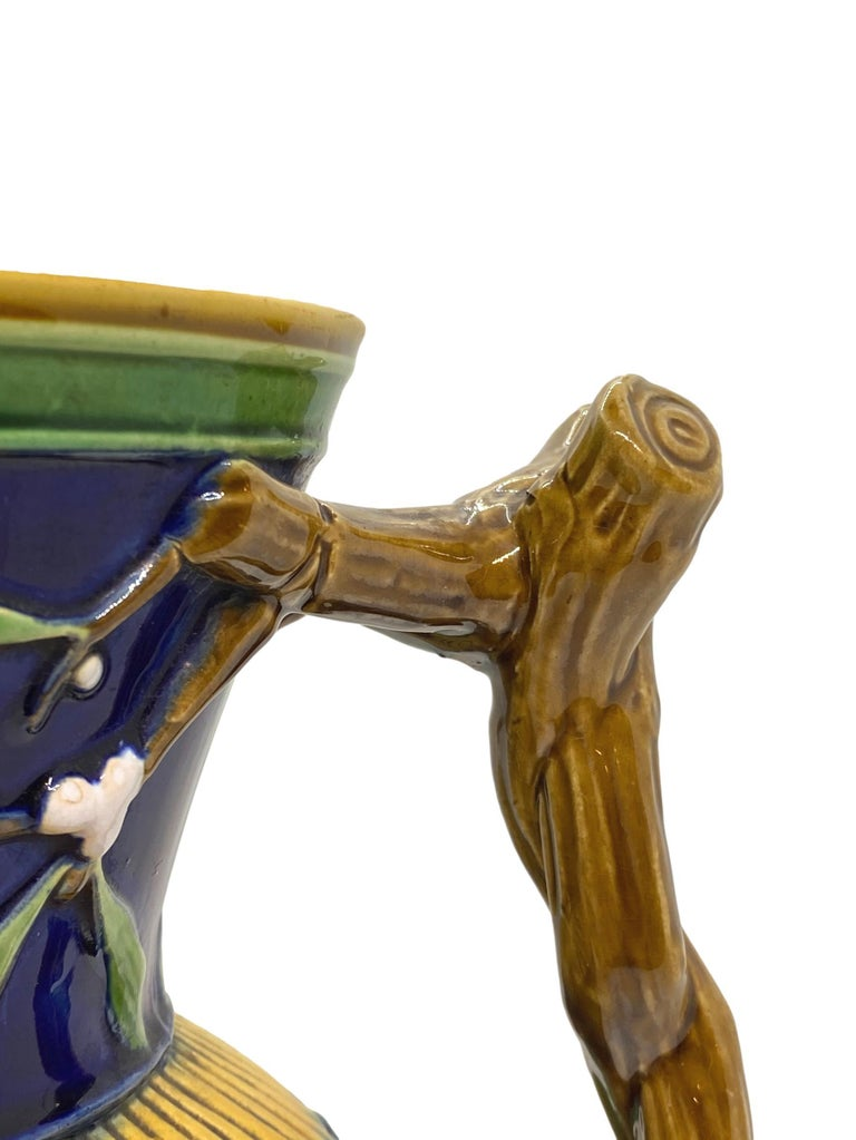 Minton Majolica Large Christmas Wine Ewer with Bacchus Mask, Cobalt, Dated 1868 For Sale 2