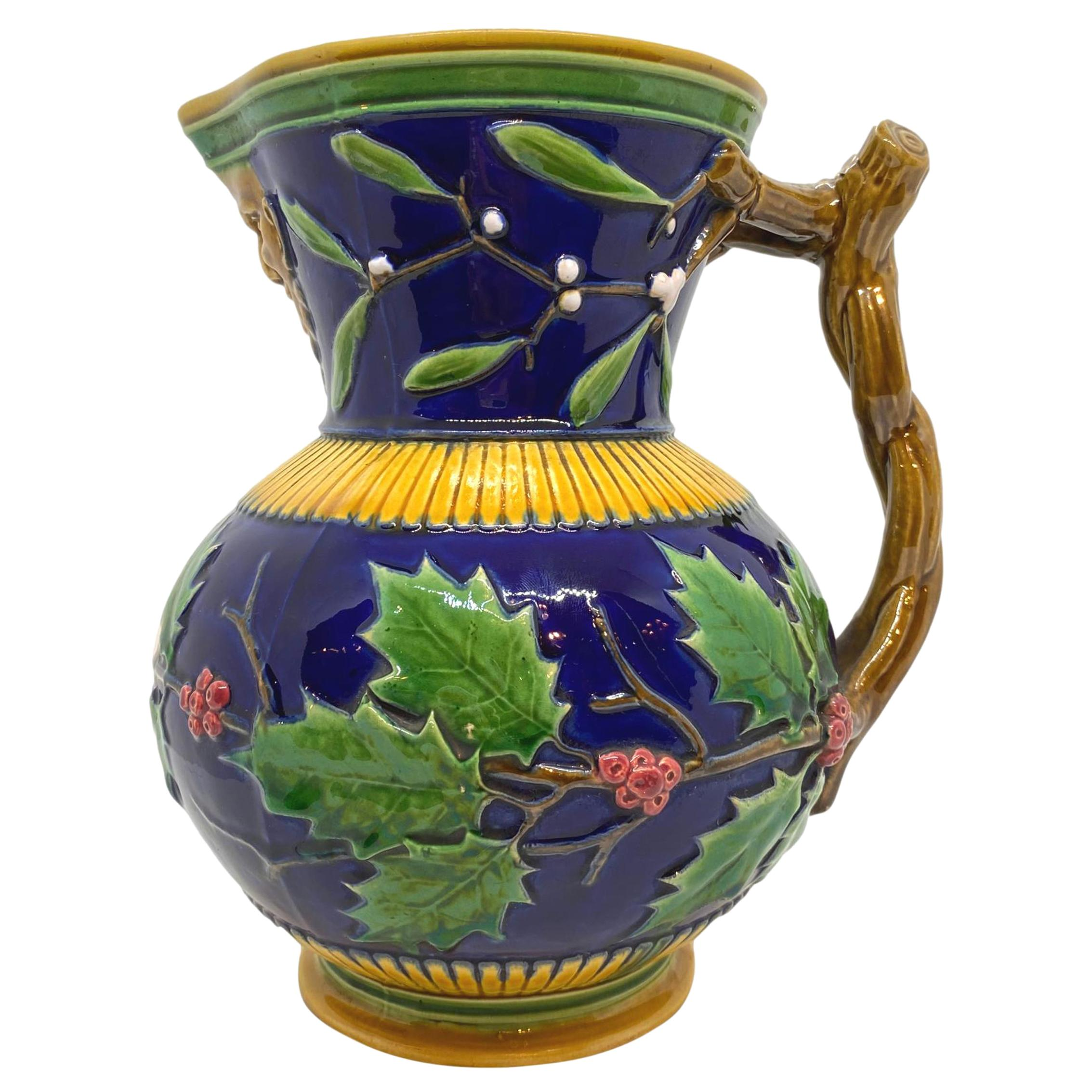 Minton Majolica Large Christmas Wine Ewer with Bacchus Mask, Cobalt, Dated 1868