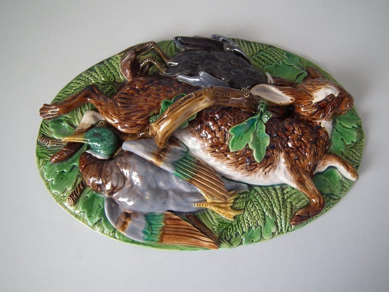 Glazed Minton Majolica Mallard Game Pie Dish, Liner and Cover For Sale