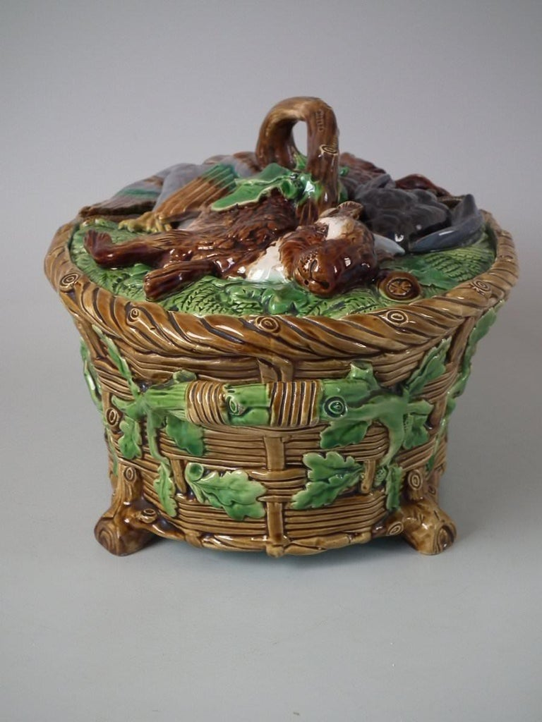 Mid-19th Century Minton Majolica Mallard Game Pie Dish, Liner and Cover For Sale