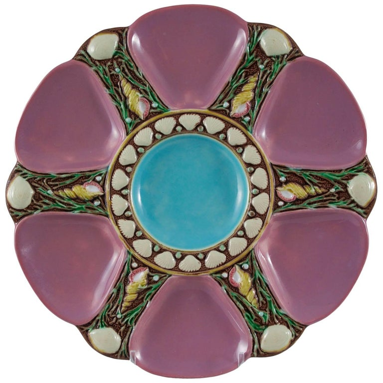 Minton Majolica Pink Oyster Plate, circa 1873 For Sale