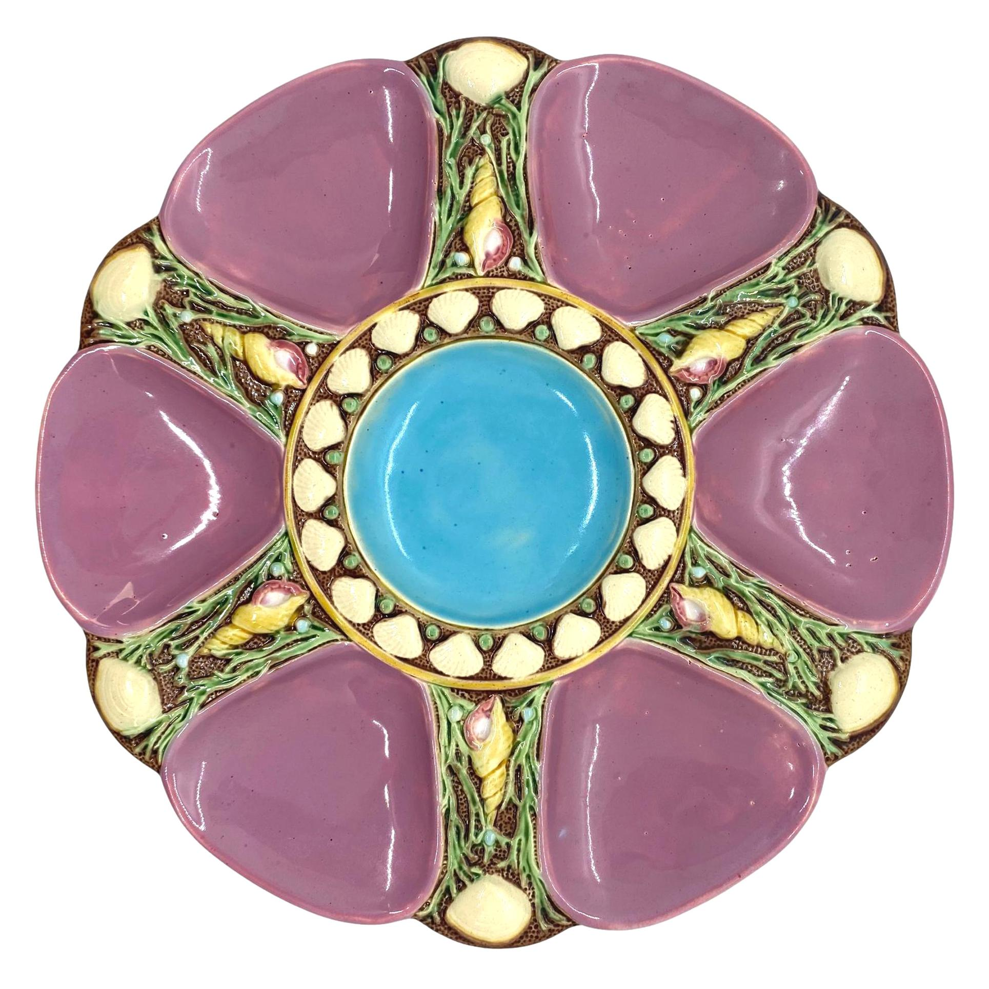 Minton Majolica Pink Oyster Plate, circa 1873
