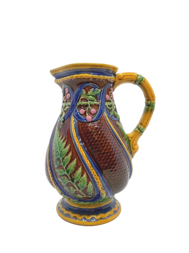 Victorian Minton Majolica Pitcher with Ferns and Pink Berries, English, Dated 1860 For Sale