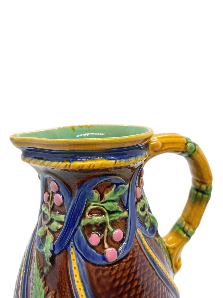 Minton Majolica Pitcher with Ferns and Pink Berries, English, Dated 1860 For Sale 1