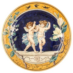 Minton Majolica Plate with Design by W. S. Coleman