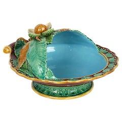 Minton Majolica Pottery Pedestal Chestnut Dish Dated 1867