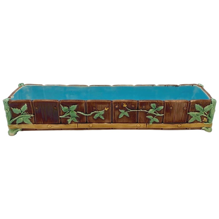 Minton Majolica Small Jardinière Flower Trough Singed, Dated 1871 For Sale