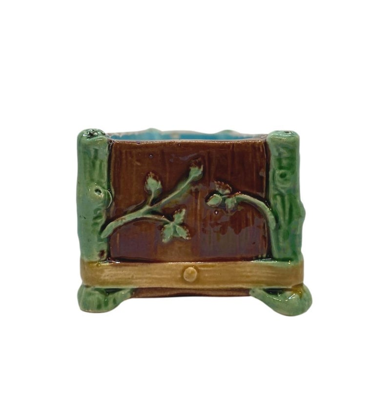 Victorian Minton Majolica Small Jardinière Flower Trough Singed, Dated 1871 For Sale