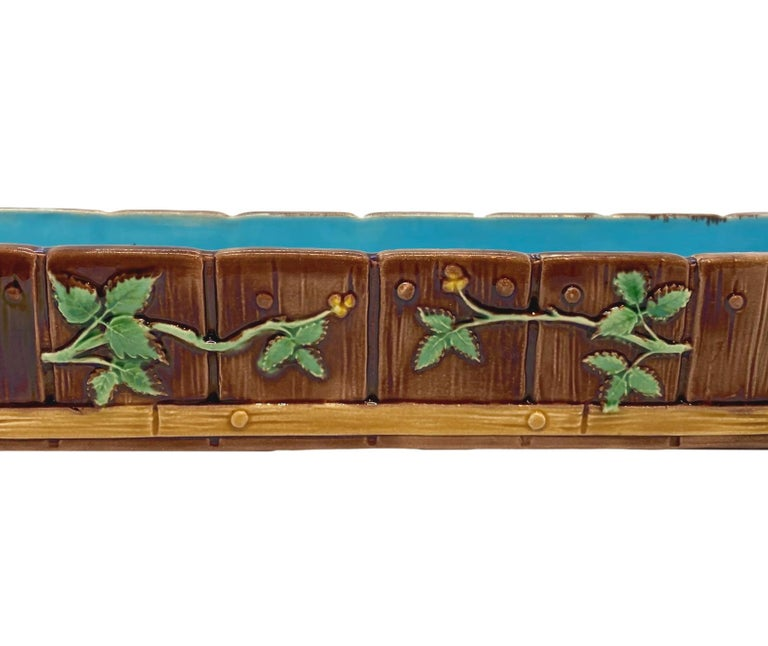 Minton Majolica Small Jardinière Flower Trough Singed, Dated 1871 In Good Condition For Sale In Banner Elk, NC