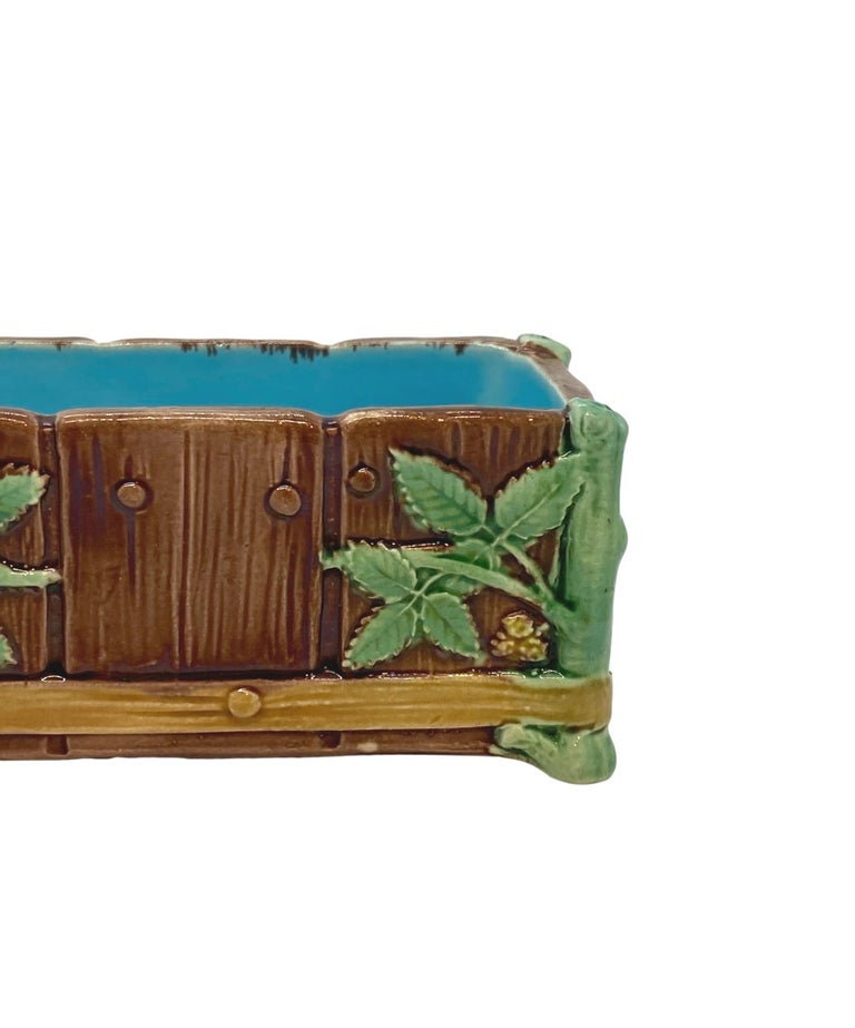 19th Century Minton Majolica Small Jardinière Flower Trough Singed, Dated 1871 For Sale