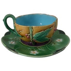Minton Majolica Teacup and Saucer