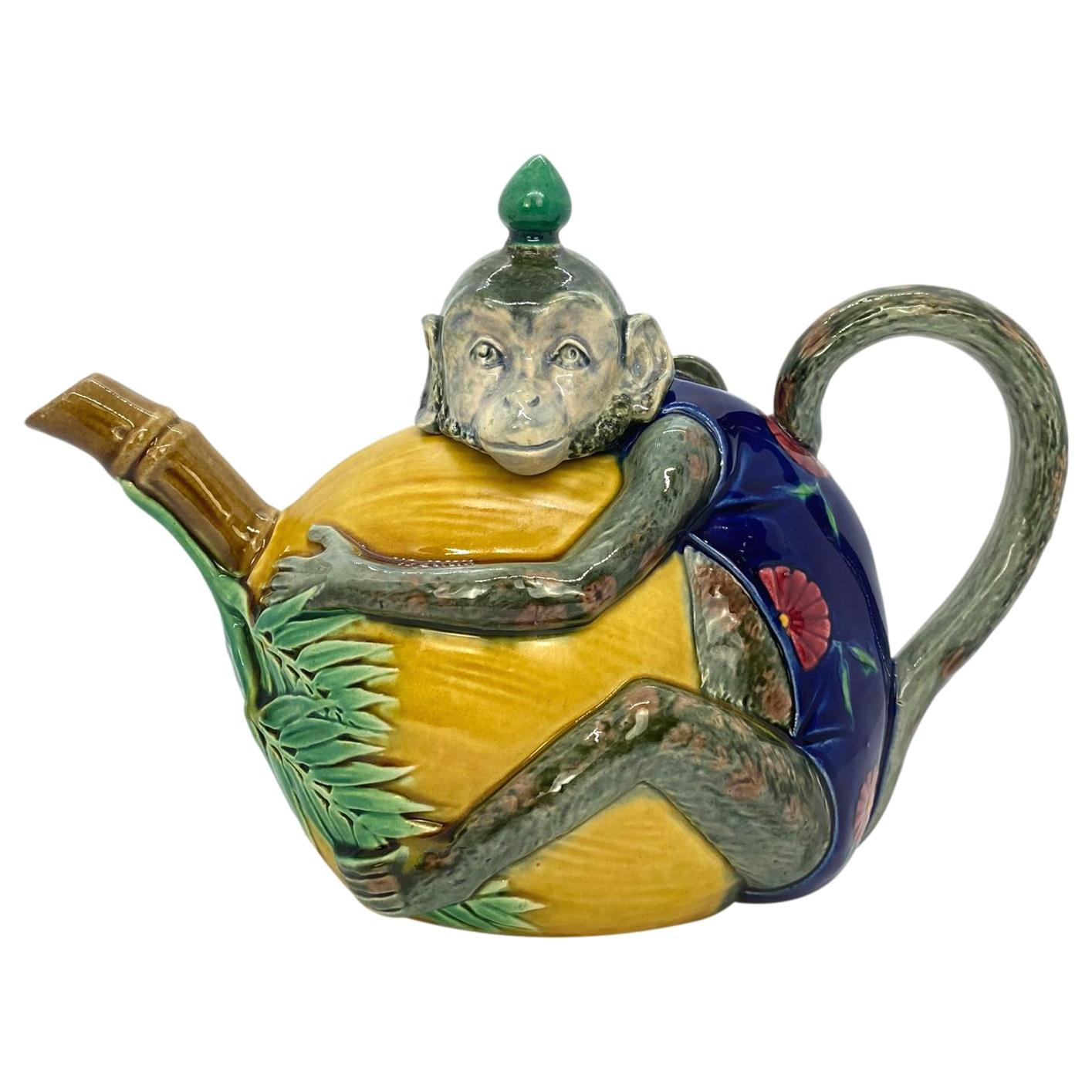 Minton Majolica Teapot, Beautifully Glazed Monkey with a Coconut, Dated 1874