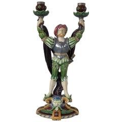Minton Majolica Tudor Figure Candelabra