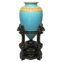 "Minton Majolica Turquoise-Ground ""Chinese Vase"" Design Attr. Christopher Dresser"