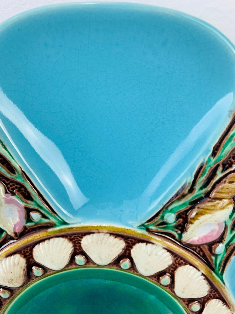 Molded Minton Majolica Turquoise Six Well Oyster Plate, English, Dated 1871 For Sale