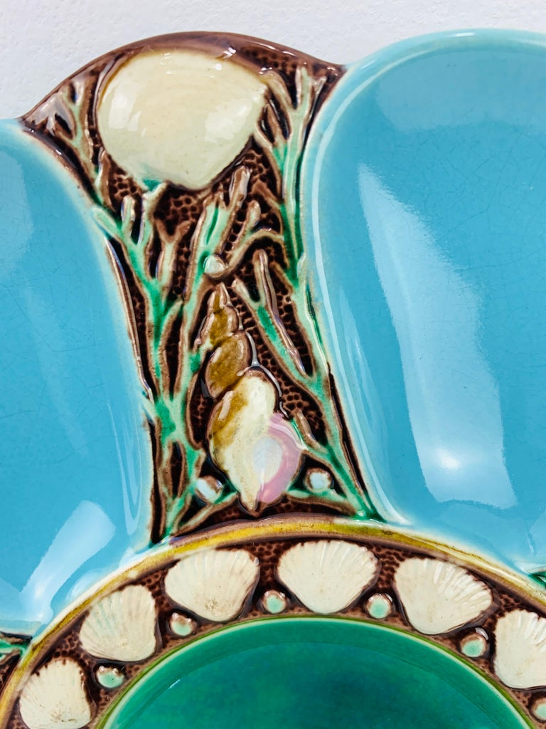 Minton Majolica Turquoise Six Well Oyster Plate, English, Dated 1871 In Good Condition For Sale In Banner Elk, NC