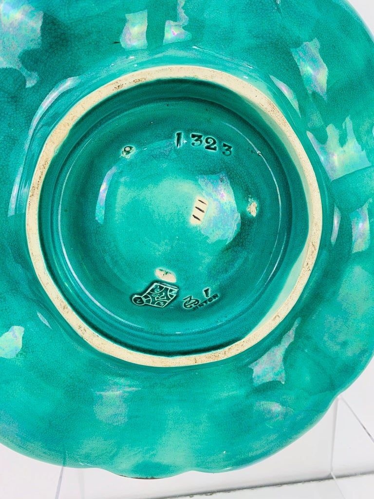 Minton Majolica Turquoise Six Well Oyster Plate, English, Dated 1871 For Sale 2